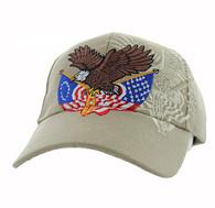 VM284 American USA Eagle Velcro Cap (Solid Khaki)