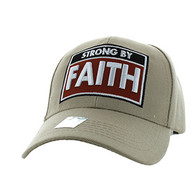 VM606 Strong  By Faith Christian Baseball Velcro Cap Hat (Solid Khaki)