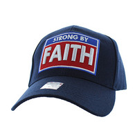 VM606 Strong  By Faith Christian Baseball Velcro Cap Hat (Solid Navy)
