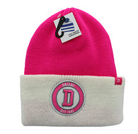 WB181 Dallas Long Beanie (Hot Pink & White)