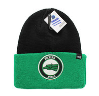 WB181 Hecho En Mexico Long Beanie (Black & Kelly Green)