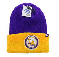 WB181 Lousiana Long Beanie (Purple & Gold)