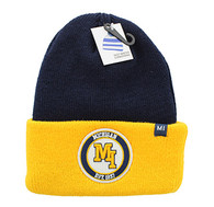 WB181 Michigan Long Beanie (Navy & Gold)