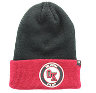 WB181 Oklahoma Long Beanie (Black & Burgundy)