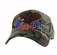 VM284 American USA Eagle Velcro Cap (Solid Military Camo)