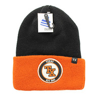 WB181 Texas Long Beanie (Black & Texas Orange)