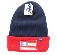 WB181 USA Flag Long Beanie (Navy & Red)