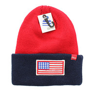 WB181 USA Flag Long Beanie (Red & Navy)