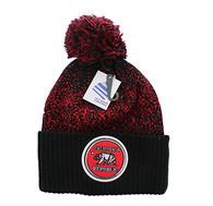 WB182 Cali Bear Pom Pom Beanie (Black & Red)