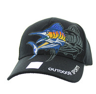 VM319 Marlin Outdoor Sports Velcro Cap (Solid Black)
