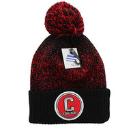 WB182 Chicago Pom Pom Beanie (Black & Red)