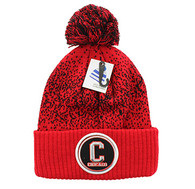 WB182 Chicago Pom Pom Beanie (Red & Black)