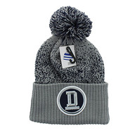 WB182 Dallas Pom Pom Beanie (Light Grey & Navy)