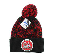 WB182 Georgia Pom Pom Beanie (Black & Red)