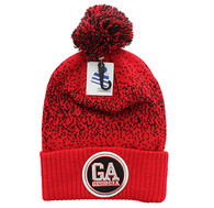 WB182 Georgia Pom Pom Beanie (Red & Black)