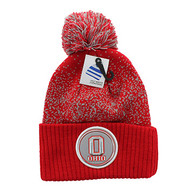 WB182 Ohio Pom Pom Beanie (Red & Light Grey)