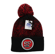 WB182 San Francisco Pom Pom Beanie (Black & Red)