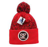 WB182 San Francisco Pom Pom Beanie (Red & Black)