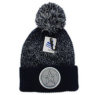 WB182 Big Star Pom Pom Beanie (Navy & Light Grey)
