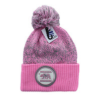 WB182 Cali Bear Pom Pom Beanie (Light Pink & Light Grey)