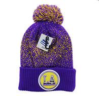 WB182 Los Angeles Pom Pom Beanie (Purple & Gold)