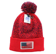 WB182 USA Flag Pom Pom Beanie (Red & Navy)