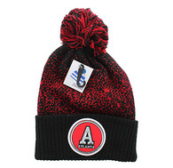 WB182 Atlanta Pom Pom Beanie (Black & Red)