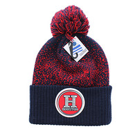 WB182 Houston Pom Pom Beanie (Navy & Red)