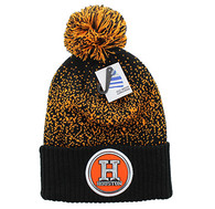 WB182 Houston Pom Pom Beanie (Black & Orange)