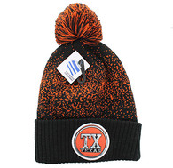 WB182 Texas Pom Pom Beanie (Black & Texas Orange)