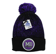 WB182 Baltimore Pom Pom Beanie (Black & Purple)