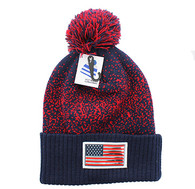 WB182 USA Flag Pom Pom Beanie (Navy & Red)