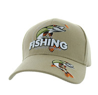 VM386 Trout Fishing Outdoor Sports Velcro Cap (Solid Khaki)