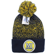 WB182 Michigan Pom Pom Beanie (Navy & Yellow)