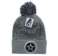 WB182 Big Star Pom Pom Beanie (Light Grey & Navy)