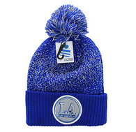 WB182 Los Angeles Pom Pom Beanie (Royal & Light Grey)