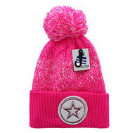 WB182 Big Star Pom Pom Beanie (Hot Pink & White)