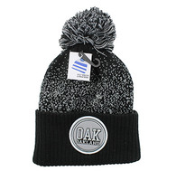 WB182 Oakland Pom Pom Beanie (Black & Light Grey)