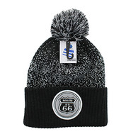 WB182 Route 66 Pom Pom Beanie (Black & Light Grey)