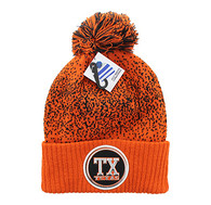 WB182 Texas Pom Pom Beanie (Texas Orange & Black)