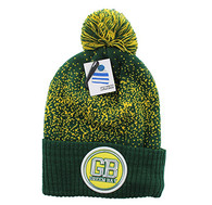 WB182 Green Bay Pom Pom Beanie (Dark Green & Gold)