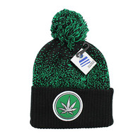 WB182 Marijuana Pom Pom Beanie (Black & Kelly Green)