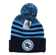 WB183 North Carolina Pom Pom Beanie (Navy & Sky Blue)