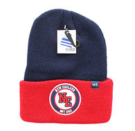 WB181 New England Long Beanie (Navy & Red)