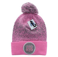 WB182 Route 66 Pom Pom Beanie (Light Pink & Light Grey)