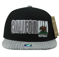 SM779 California Bear Cotton Snapback Cap Hat (Black & White)