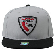 SM843 California Bear Cotton Snapback Cap Hat (White & Black)