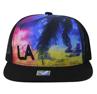SM853 Los Angeles Mesh Snapback Cap Hat (Solid Black)