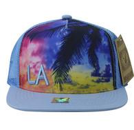 SM853 Los Angeles Mesh Snapback Cap Hat (Solid Sky Blue)
