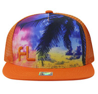 SM853 Florida Mesh Snapback Cap Hat (Solid Orange)